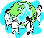 Earth with Kids Holding Hands